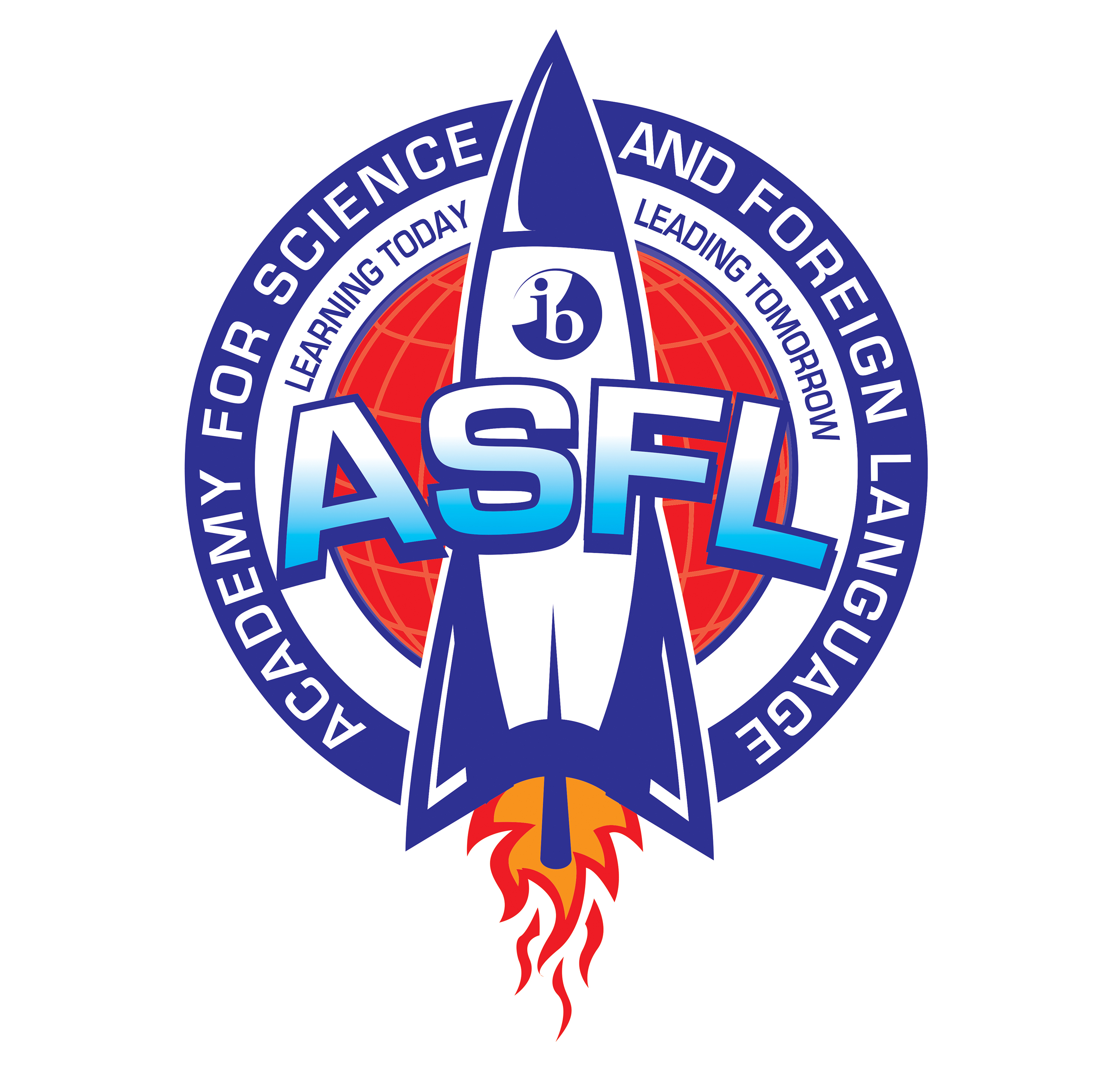 Academy for Science and Foreign Language Rocket Logo, Learning Today, Leading Tomorrow