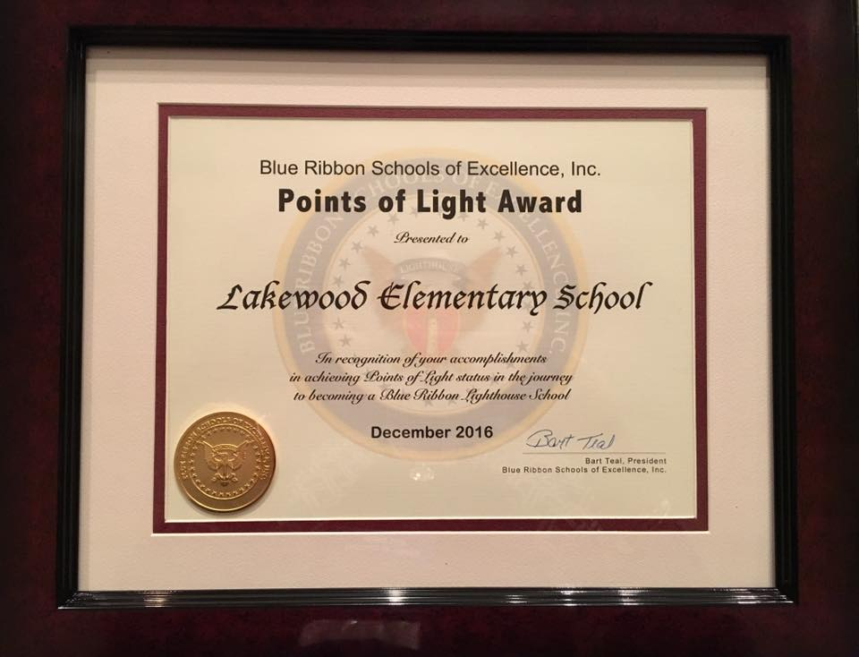 Lakewood Elementary School's Blue Ribbon Schools of Excellence Points of Light Award