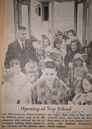 Picture from the Huntsville Times 9-28-67 of Cave Hill Elementary principal Joe McFerrin welcoming students on opening day
