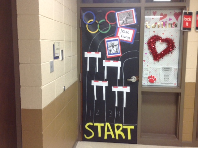 Ms. Collins door with a track and pictures of Jesse Owens & Black History Month Door Decorating Contest | Huntsville Junior ...