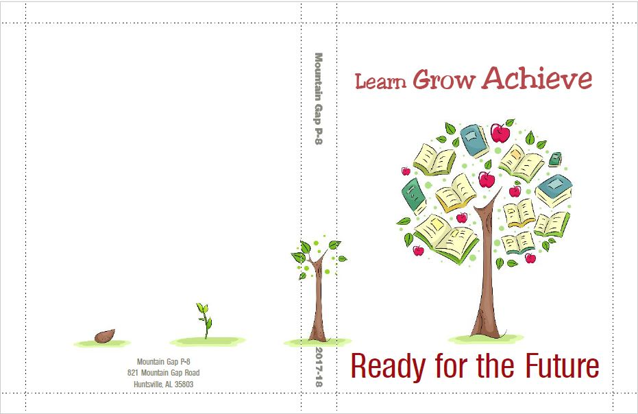 Publisher's draft rendering of front and back of open book cover with text Learn Grow Achieve, Ready for the Future