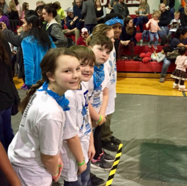 Blossomwood students pose together at the state LEGO tournament.