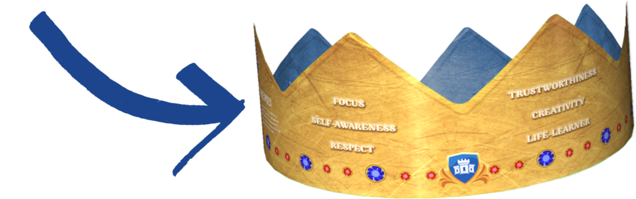 Blue Arrow Pointing Pledge Crown