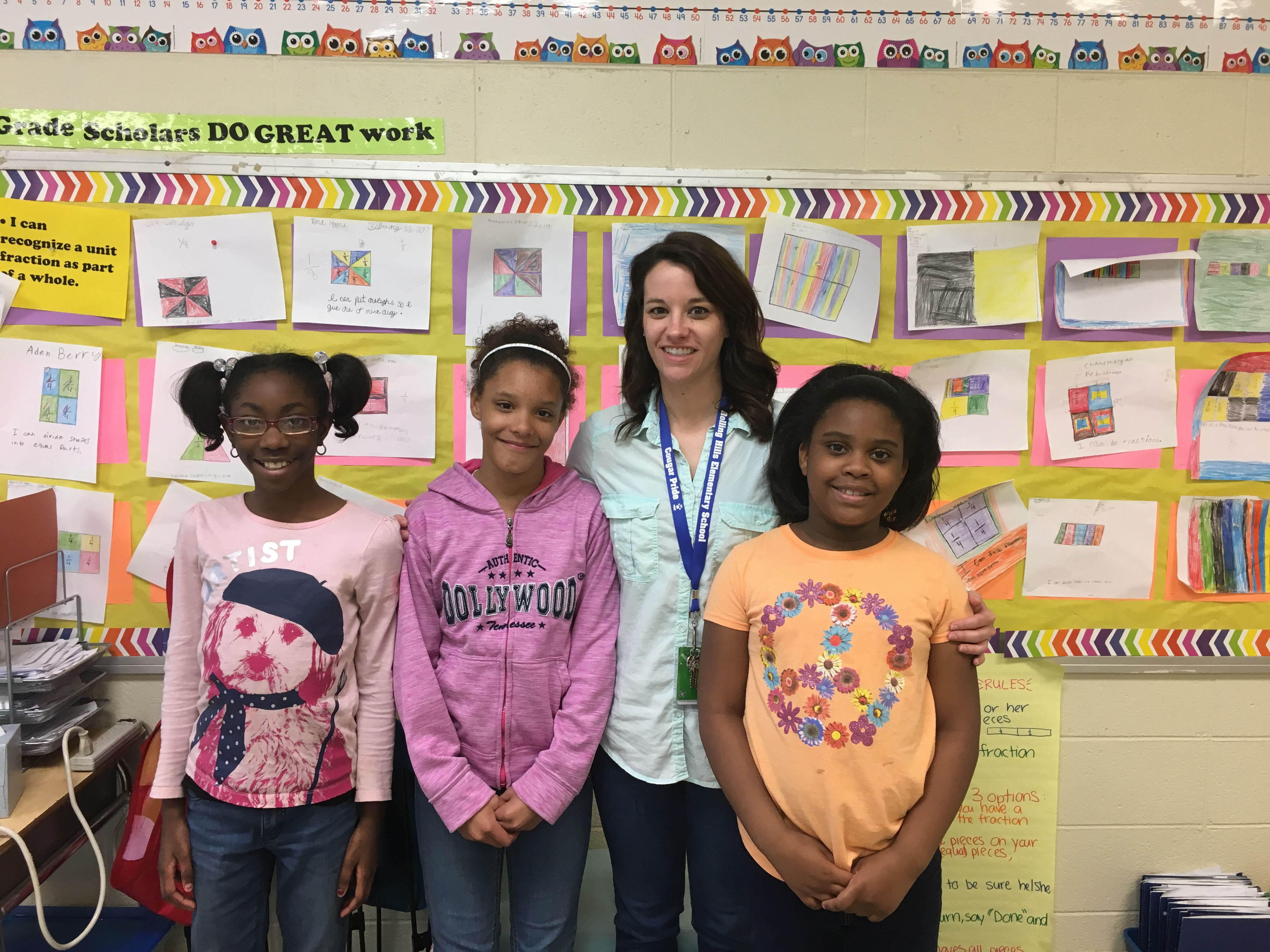 RHES Math Team Winners - 3rd grade - Kamaya Beasley 2nd place, Alexia Love 1st place, Ms Christopher, and Niyah Moore 3rd place - 2017