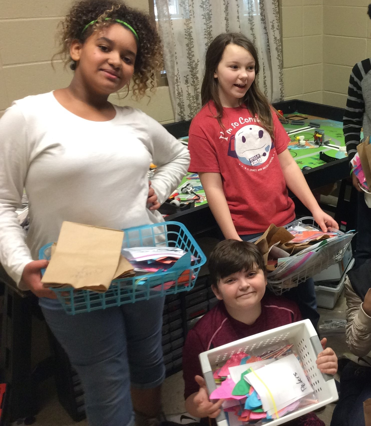 Blossomwood robotics students deliver candy grams to classrooms