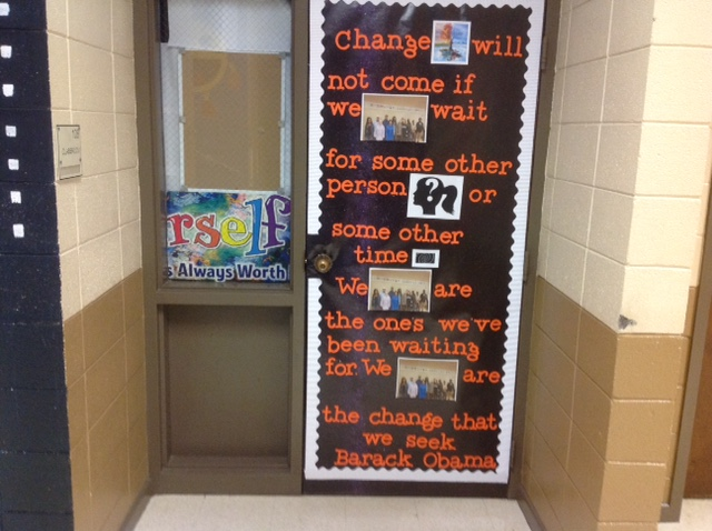 View Ms. Thomasu0027 door with a quote from Barack Obama & Black History Month Door Decorating Contest | Huntsville Junior High ...