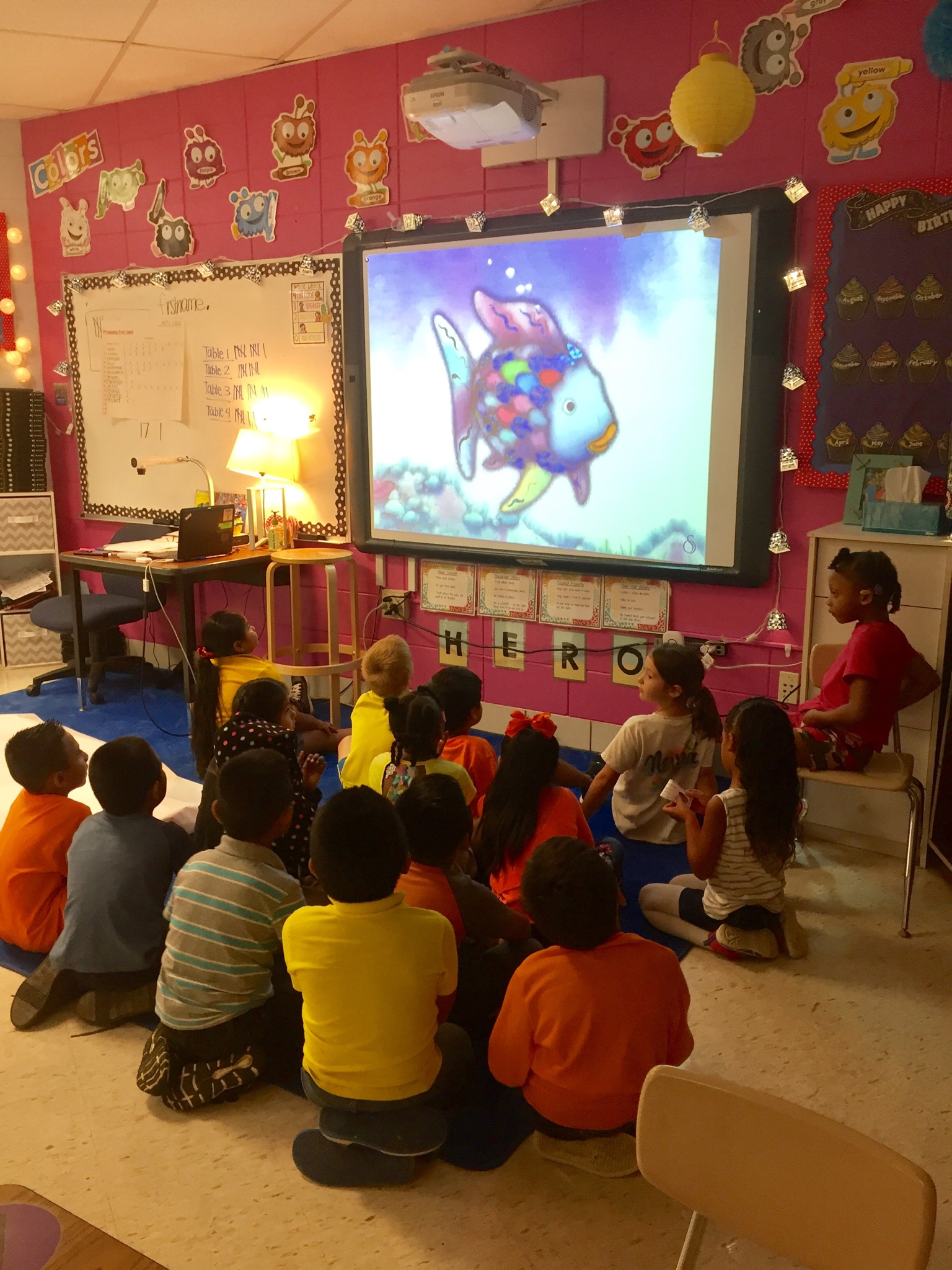 Students listening to book
