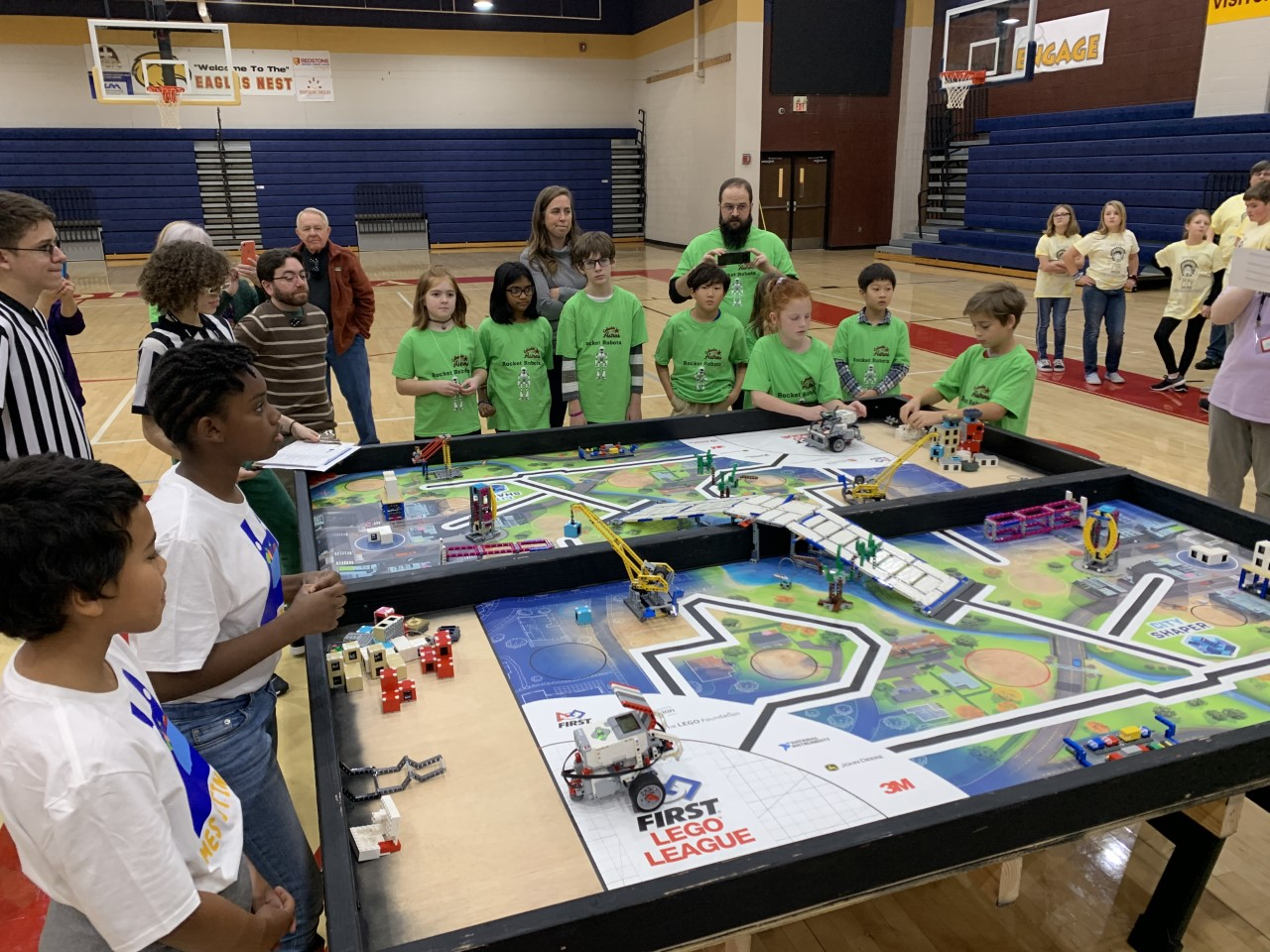 students competing in the Leggo Robotics Competition