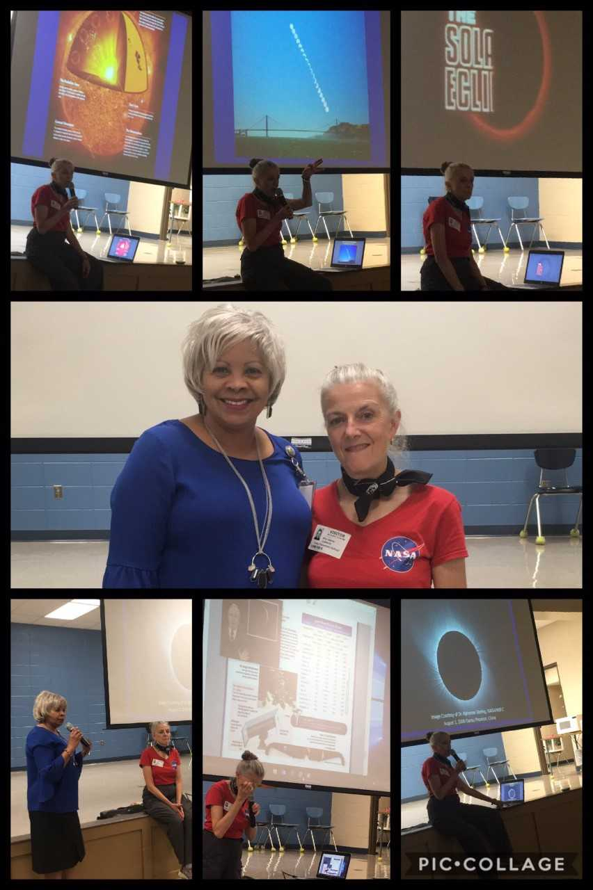 Mitzi Adams from NASA speaks to Farley students about solar eclipse