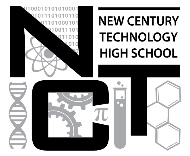 New Century Technology High School logo with binary code and DNA helix in the background.