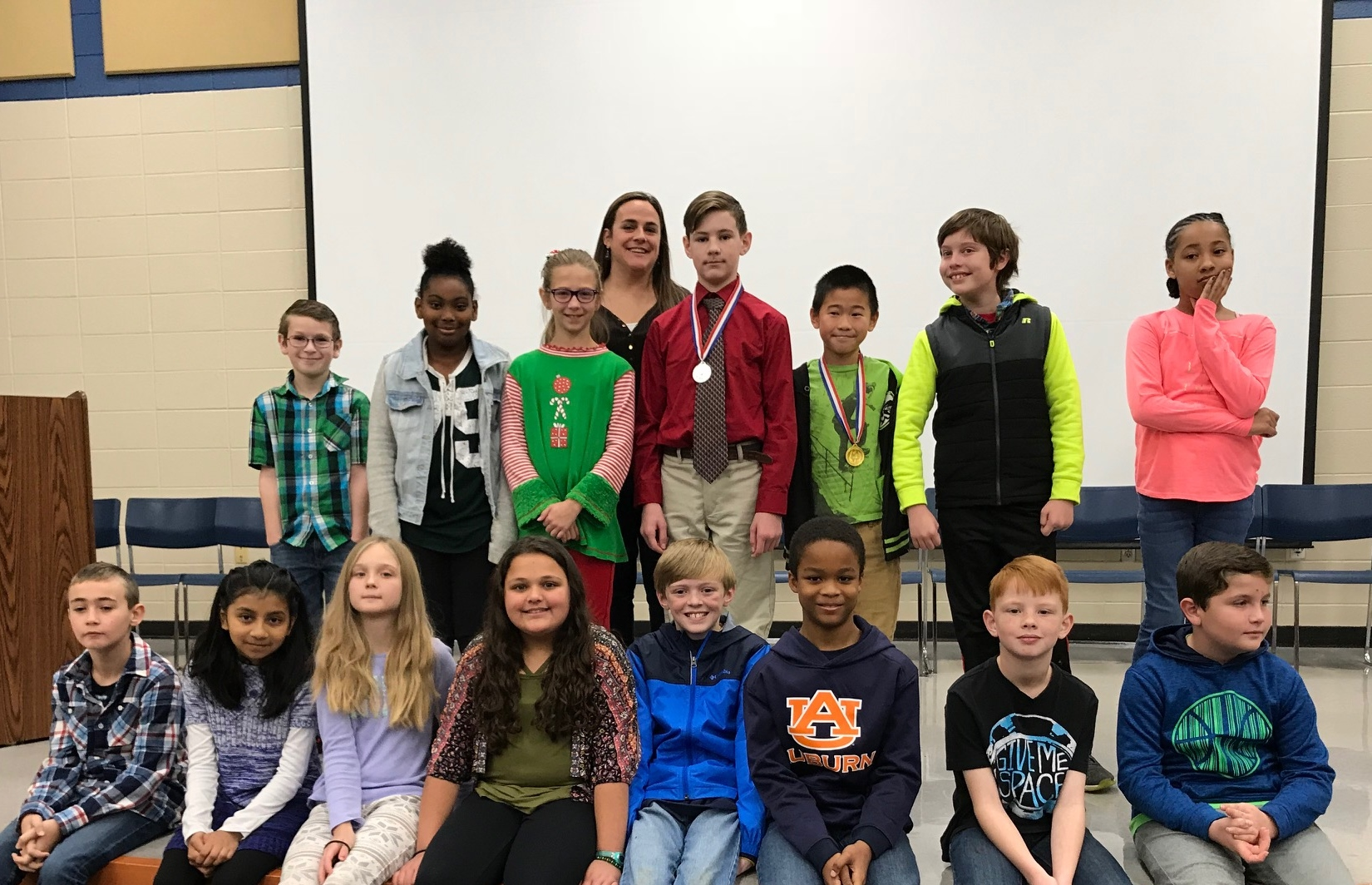 Two spelling bee participants from each class