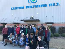 Ms. Morgan with her POE students in front of Custom Polymers in Athens.