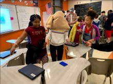 Students at the Academy for Academics and Arts performing the Robot obstacle course activity on November 6th, 2019.