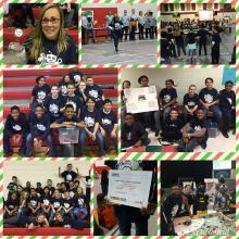 Collage consisting of 8 pictures of the Farley Robotics Team competition and their coach Mattie Hill with coach award. Pictures show students working with robots while being scored by the judges, as well as, group pictures of students.