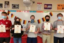 2021 Induction ceremony for the National German Honor Society German 3 students: from left to right: Garrett Swanson, Elizabeth Sierzego, Robert Barlow, Clark O'Bannon, and Nikolai Garding