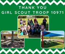 """""""Thank You Girl Scout Troop 10971"""" with a photo of the girls after all their hard work, plus the 2 areas and their new picnic tables"""
