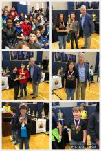 Collage of the Farley Math team competeing at the  HCS Intercity Math Competition With Dr. Akins