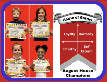 Four Blossomwood students are shown holding certificates.  These students are the house of garnett August house champions for behavior. House of garnett traits are loyalty, harmony, empathy, and self esteem.