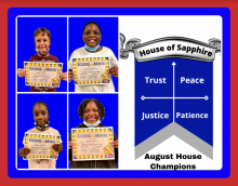 Four Blossomwood students are shown holding certificates.  These students are the house of sapphire August house champions for behavior.  House of sapphire traits are trust, peace, justice, and patience.