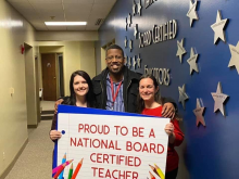 Columbia teachers Kellye Ingraham and Karli LeCompte pictured with Columbia's Principal after being recognized for receiving National Boards outside  Mertz Board Room