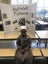 MLK Student dressed up as Harriet Tubman