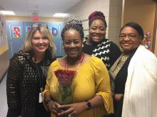 Chandra Branch-Robinson, 2017-18 Montview Teacher of the Year, with Principal Marcia Sutton, daughter Ciera Branch and mother Gladys Branch
