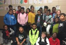 Chandra Branch-Robinson, 2017-18 Montview Teacher of the Year, with her 5th grade class