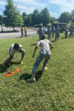 Students during Army combat fitness test