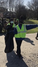 Students from the Eagle Battalion at Columbia High School picking up trash in the community