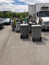 Students from the Eagle Battalion at Columbia High School collecting unwanted documents from community members at Calhoun College to shred and recycle