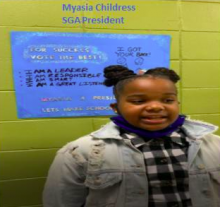 Picture of 5th grade student, Myasia, who is the 2020-2021 Montview Student Government Association president