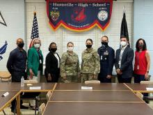 Picture of Supt. Christie Finlay and Huntsville City School's Scool Board with HHS's Col. Murphy (retired) and Space Force's Commander, Col Niki Lindhorst and CMSgt Esther Sanford at Huntsville High School