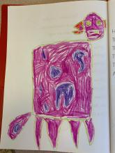 Drawing of a pink and purple dog created by pre-k student