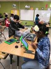 """Farley 4th grade students are using VEX IQ components to complete a Project Lead the Way """"Energy Collisions"""" unit."""