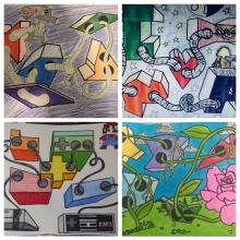 One point perspective artwork from CMS students