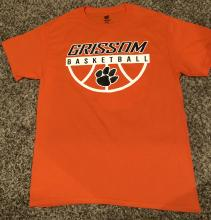 picture of the front of 2018-2019 GHS boys basketball 50/50 t-shirt with black tiger paw in white half basketball