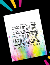 """yearbook cover preview 2021-22 """"REMIX New Centry"""" with colorful spray pain splatter background"""