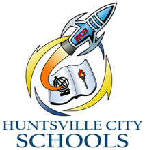 Huntsville City Schools logo rocket flying out of a book