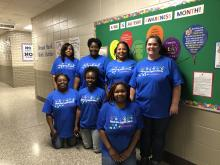 MLK Collaborative department supporting Autism Awareness Month with matching t-shirts