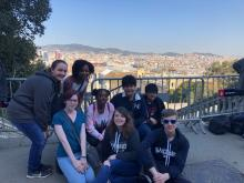 Students enjoying the view of downtown Barcelona.