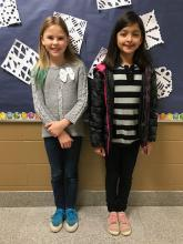 Spelling Bee winners, Rachel (left, runner-up) and Marissa (right, first place winner)