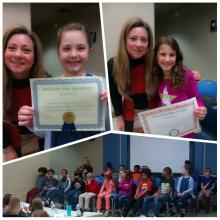 Maggie Jones is pictured holding her first place certificate with Ms. Pauli.  Katherine Marler is pictured holding her second place certificate with Ms. Pauli.  Spelling Bee contestants are pictured on the stage as a student stands and spells a word.