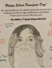 a Principals' Day card for Principal Sutton from Ms. White's 4th grade class, which contains a drawing of Ms. Sutton and all the students' signatures