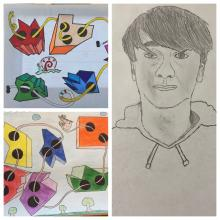 A self portrait and some one-point perspective art work from CMS students.