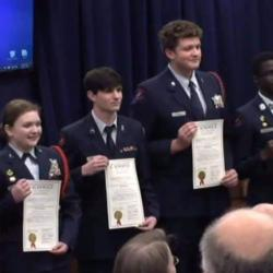 2020 CyberPatriot JROTC State Champions receiving awards; Names unknown