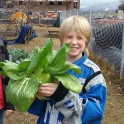 Child with plant