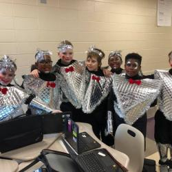 Boys in Classroom in Astronaut Costumes