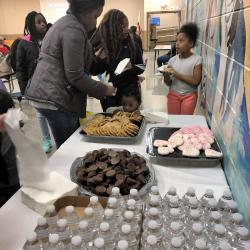 People getting refreshments at the Montview Black History Program