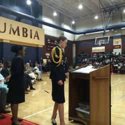 Roebke giving farewell speech to students during Change of Command Ceremony