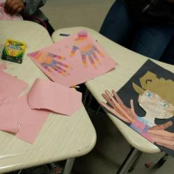 Students working on Black History art projects